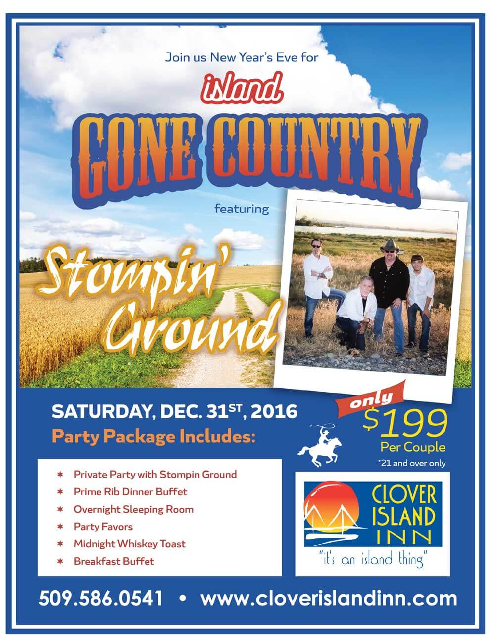 clover island inn new years eve flyer