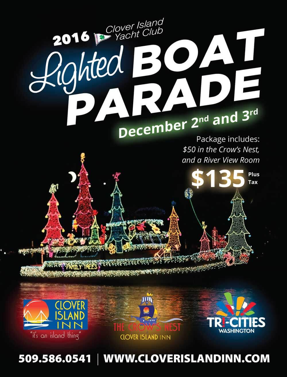 lighted boat parade at Clover Island Inn