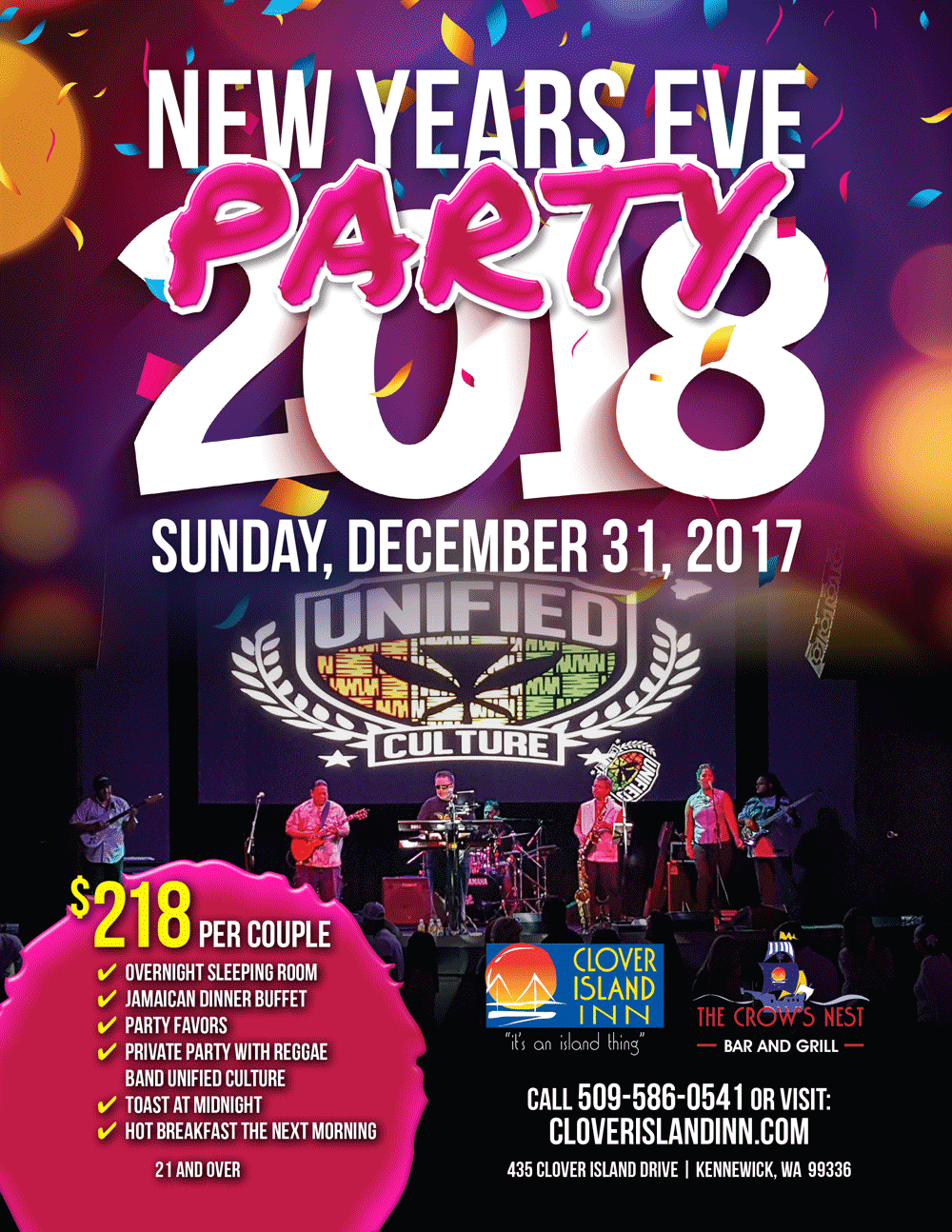 Clover Island Inn New Years Eve Party 2018